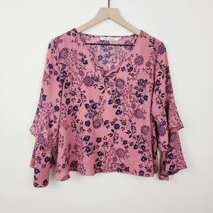Liberty Love Criss Cross Cropped Top Size Large